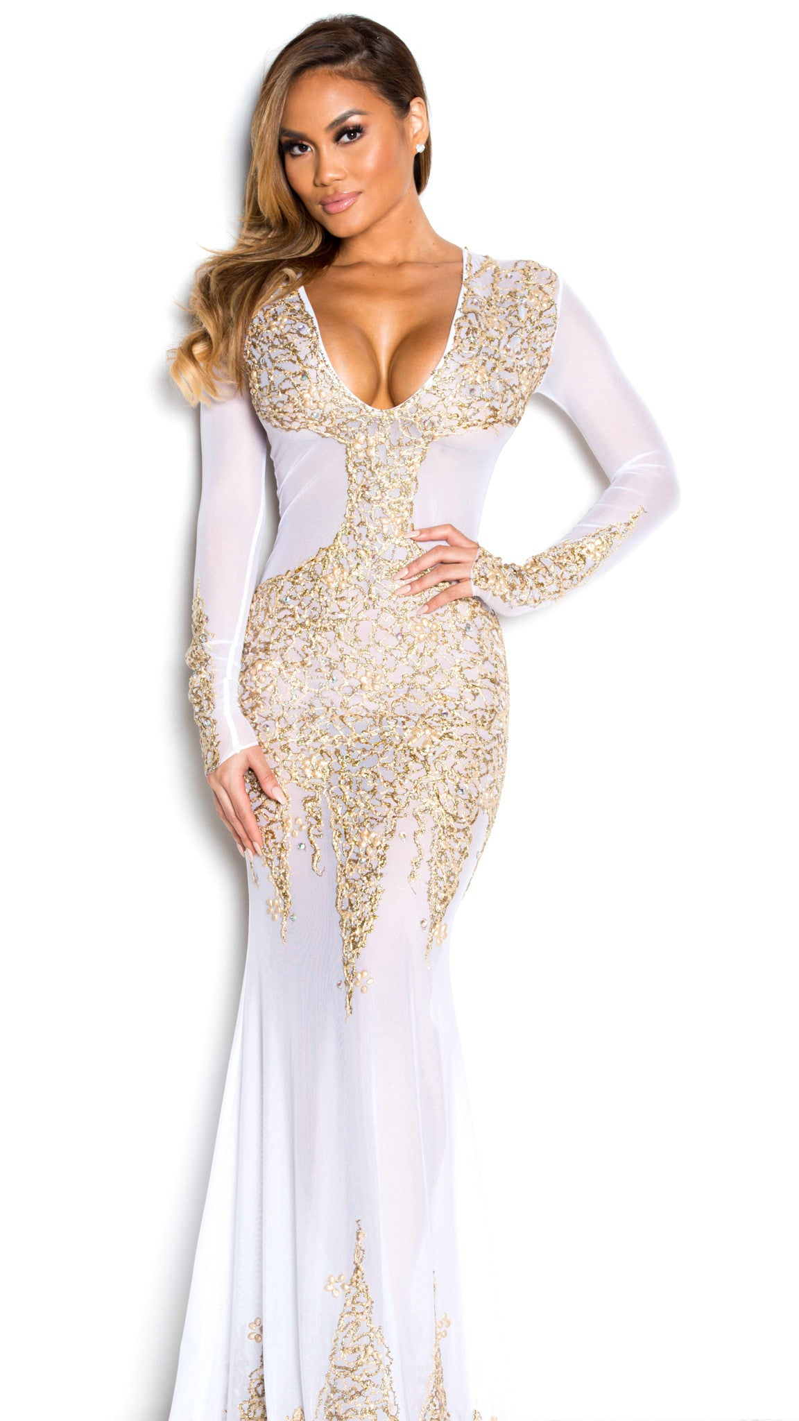 beyonce gown in white with gold holt