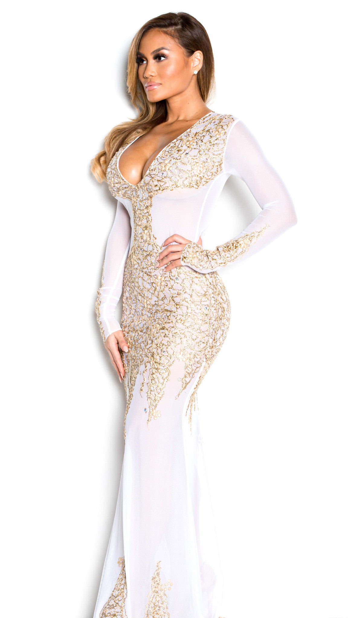 BEYONCE GOWN IN WHITE WITH GOLD - HOLT