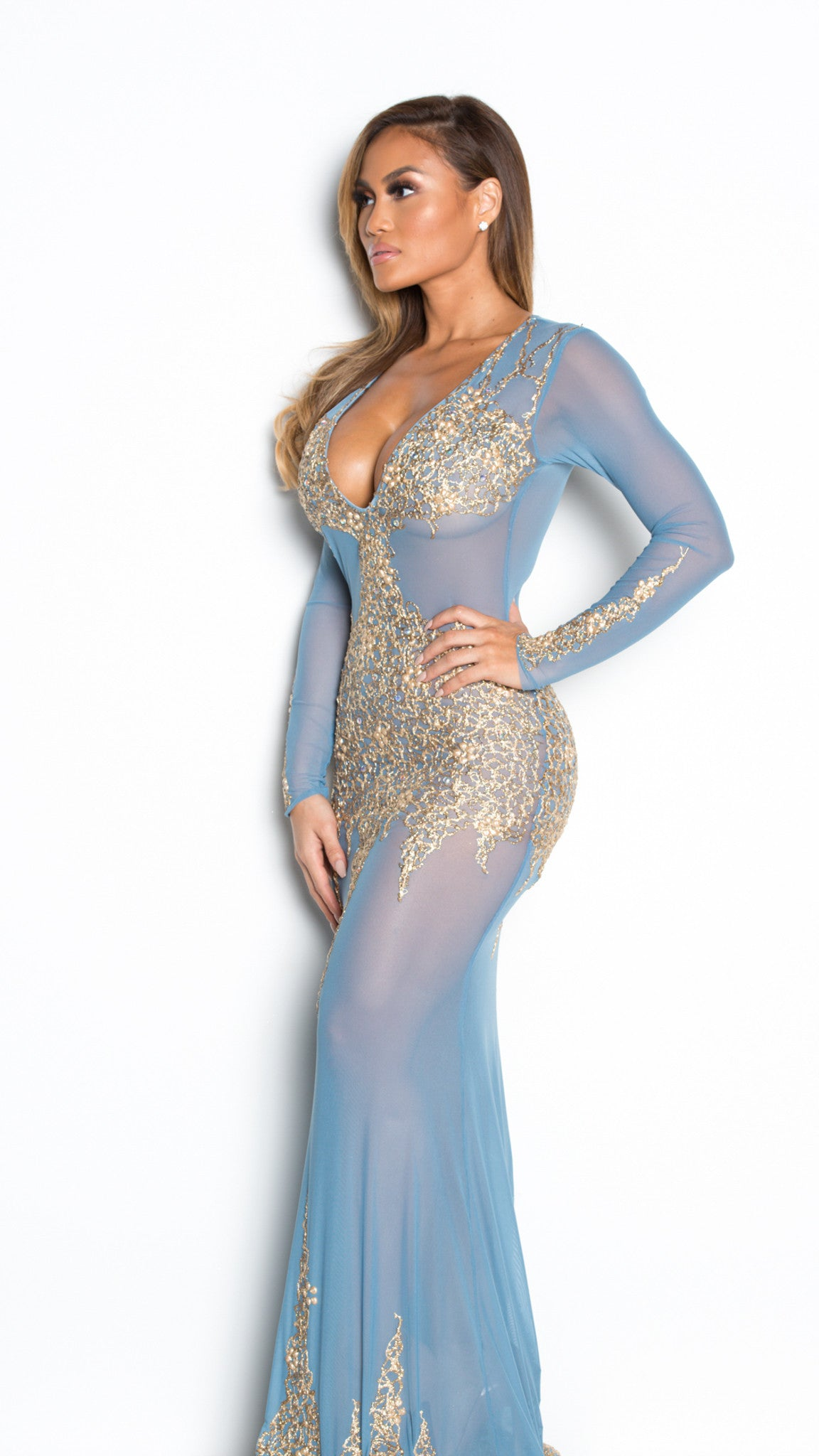 BEYONCE GOWN IN BLUE JEAN WITH GOLD - HOLT