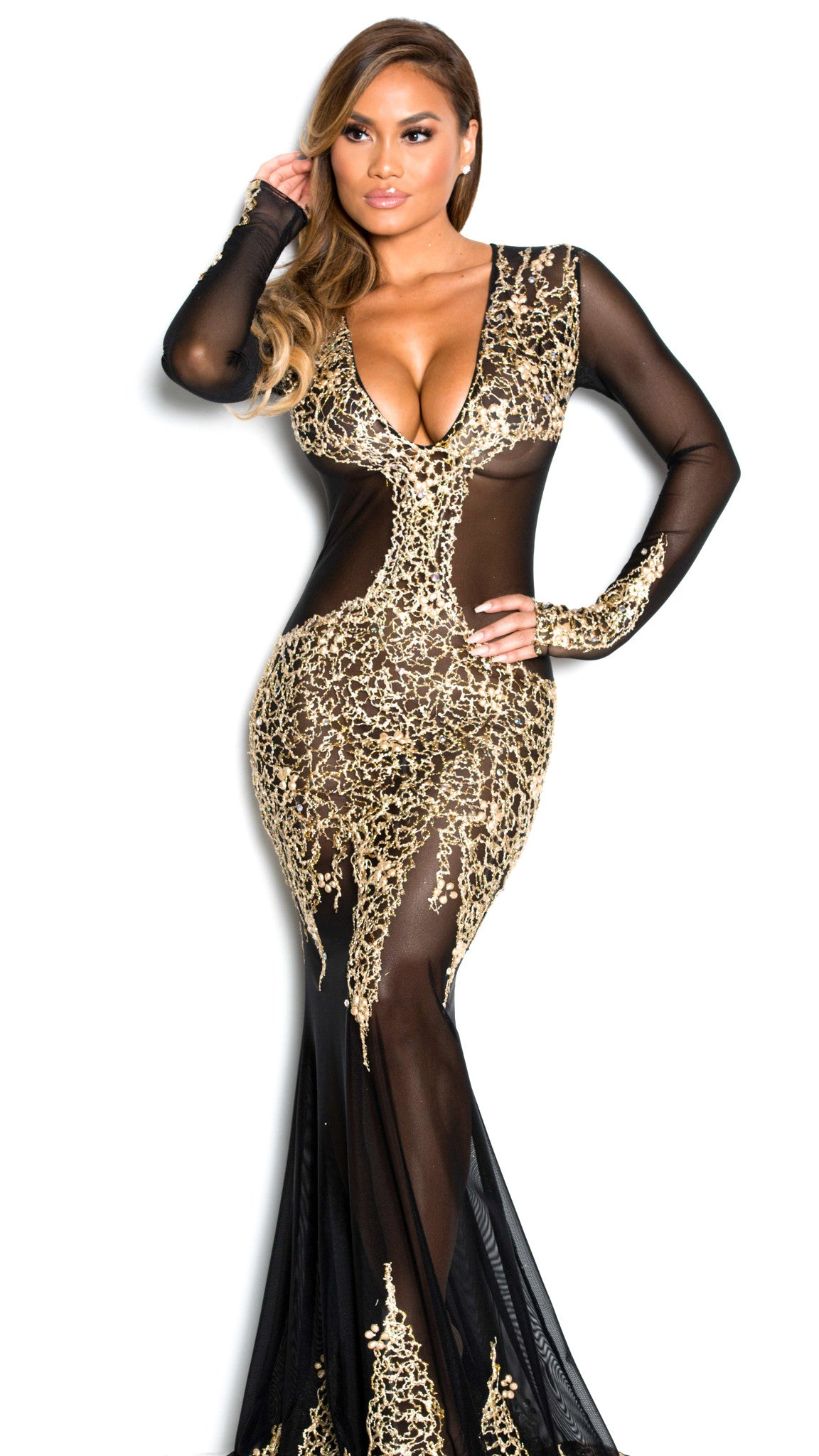 BEYONCE GOWN IN BLACK WITH GOLD – HOLT