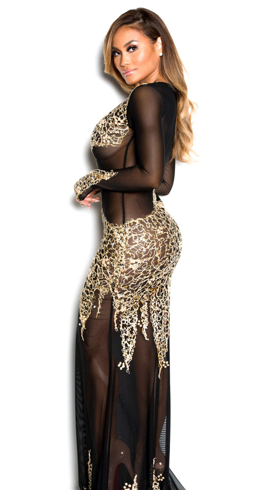 BEYONCE GOWN IN BLACK WITH GOLD
