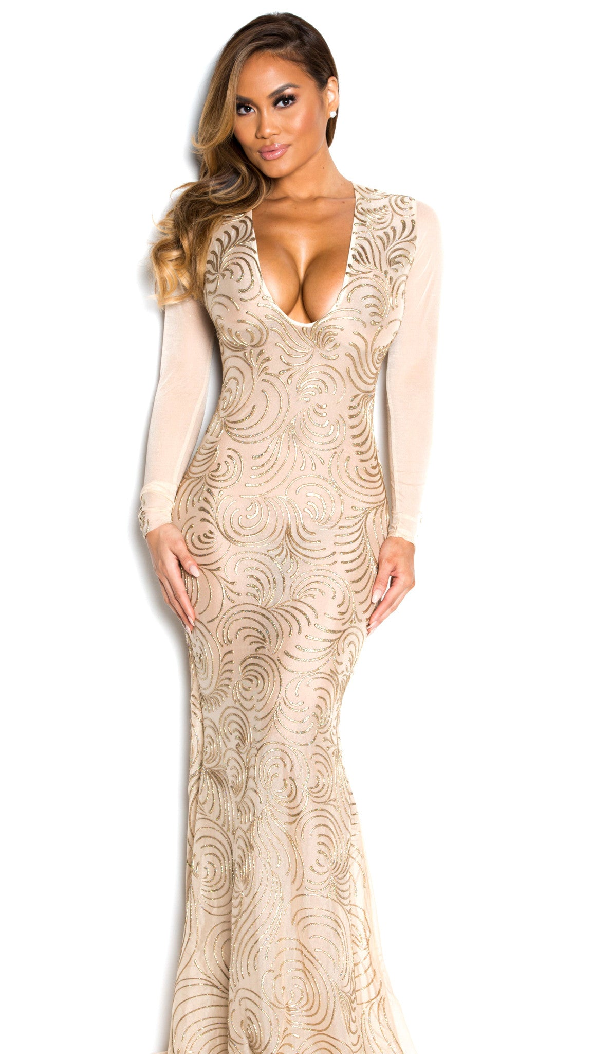 KOURTNEY GOWN IN NUDE WITH GOLD