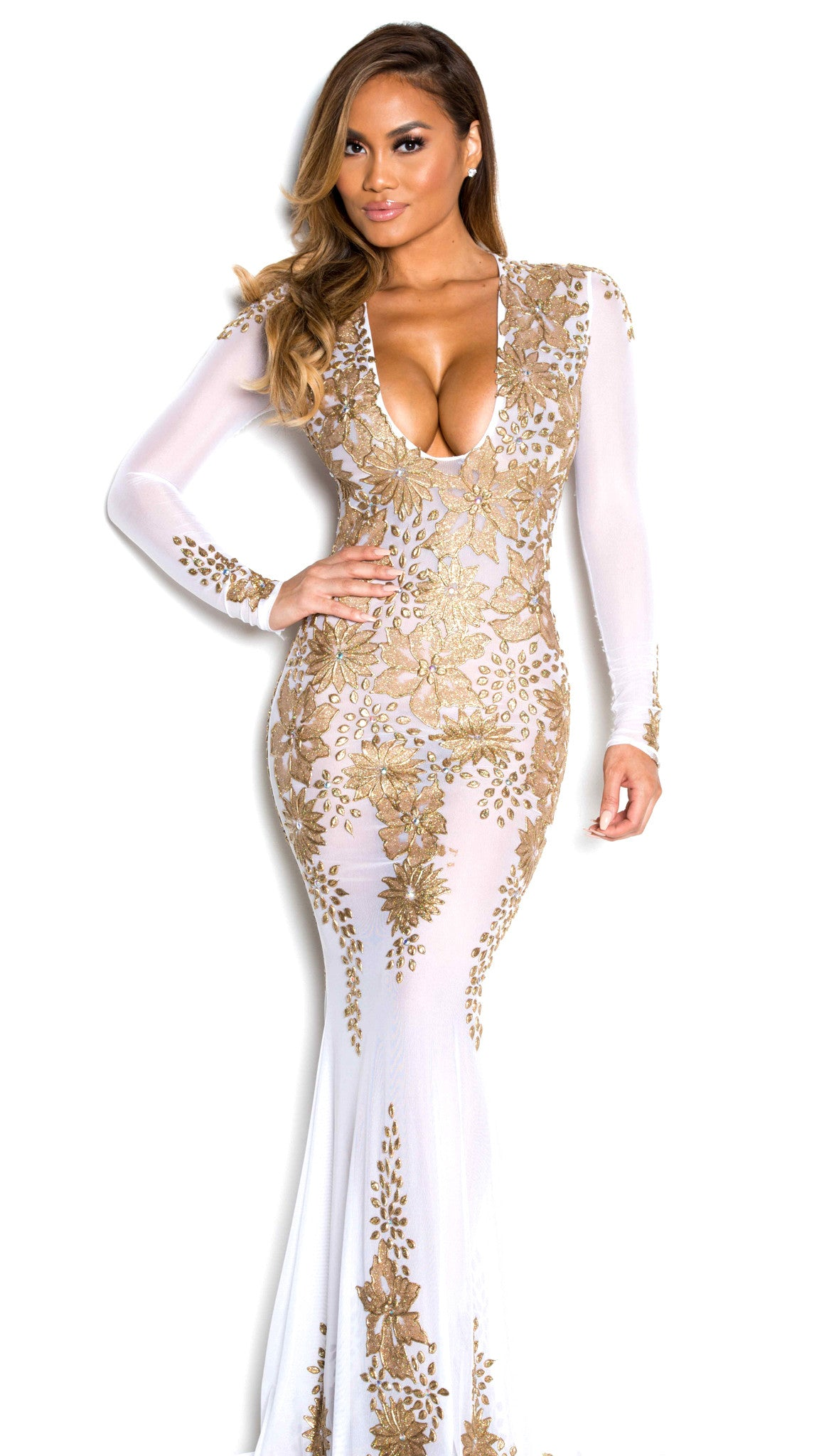 LACIE GOWN IN WHITE AND GOLD – HOLT
