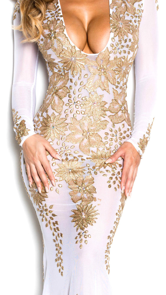 LACIE GOWN IN WHITE AND GOLD