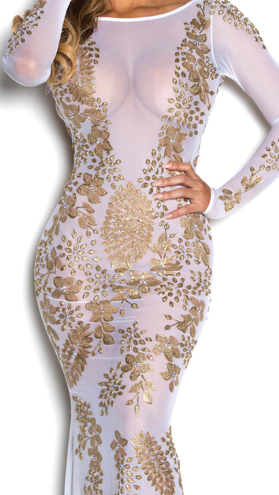 KIM GOWN IN WHITE AND GOLD
