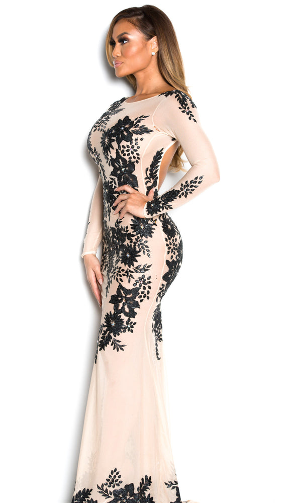 LIANAH GOWN IN NUDE WITH BLACK