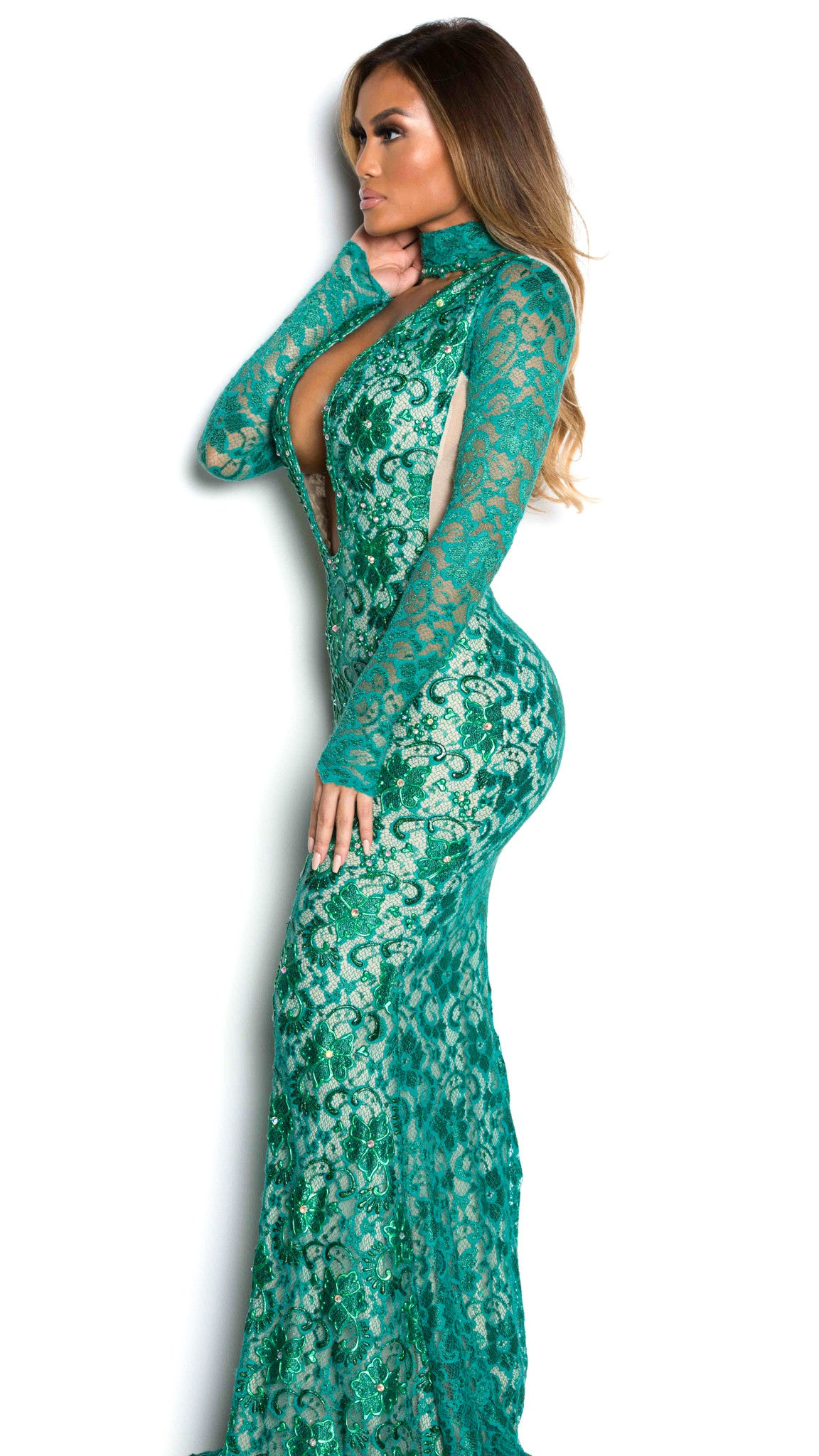 JACKIE GOWN IN GREEN