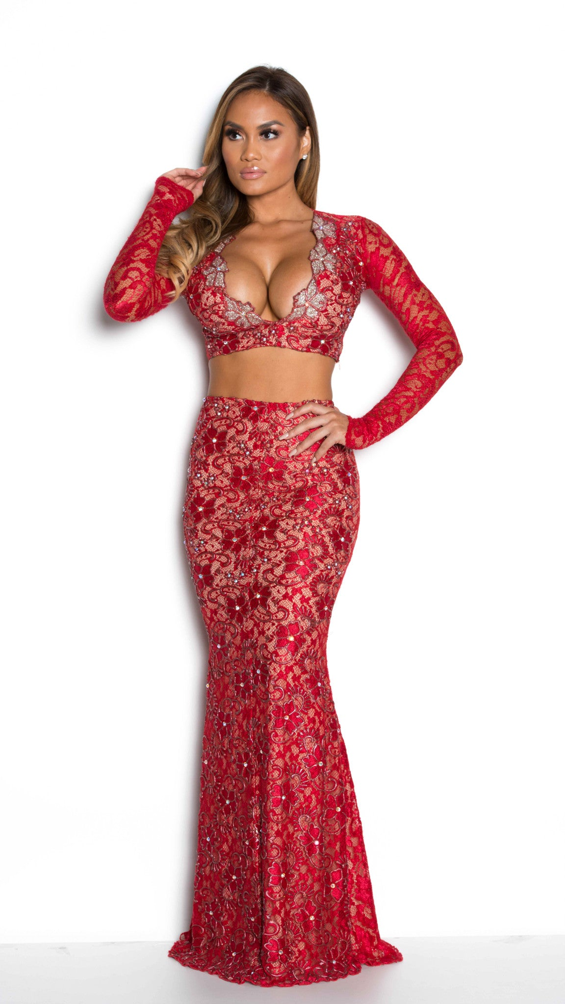AVANNI LACE GOWN - 12 COLORS