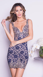 KANY LACE DRESS IN NAVY WITH GOLD