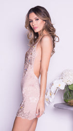 CELESTE LACE DRESS IN NUDE WITH GOLD