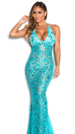 P21 HALF CRYSTAL GOWN IN TURQUOISE