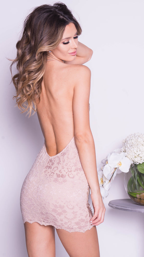 JOE LACE DRESS IN NUDE WITH GOLD
