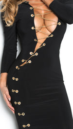 HALO CHAIN DRESS IN BLACK