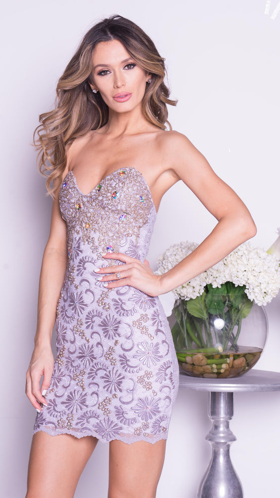LINDA LACE DRESS IN SILVER WITH GOLD