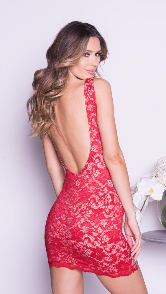 KANY LACE DRESS IN RED WITH GOLD