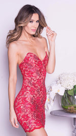 DONNA LACE DRESS IN RED
