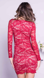 TONI LACE DRESS IN RED