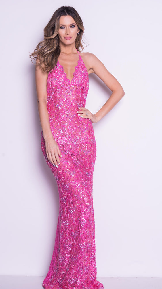 P21 LACE GOWN IN HOT PINK