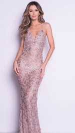 LIVINE LACE GOWN IN NUDE WITH GOLD