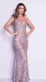 LIVINE GOWN IN SILVER WITH GOLD
