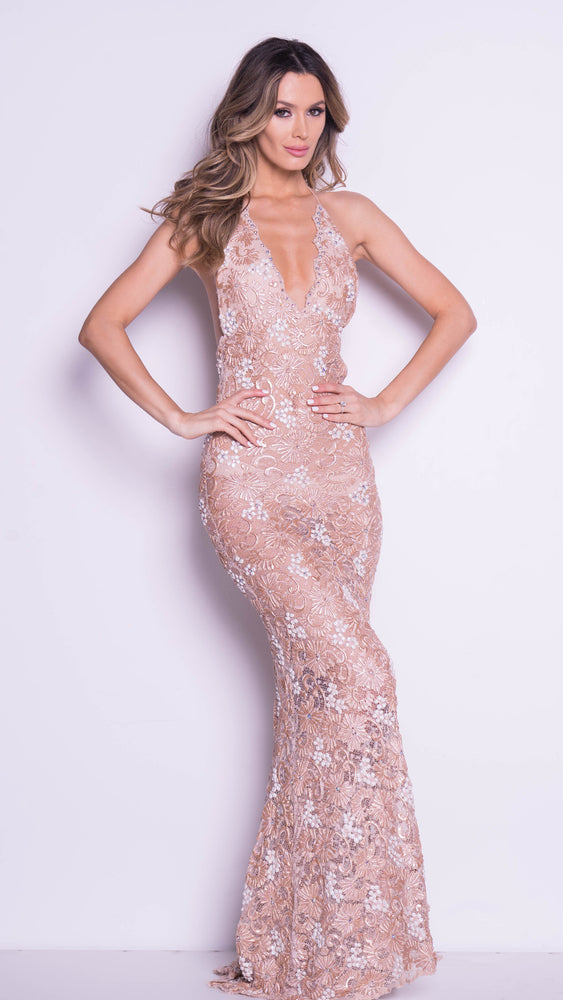 SHEFFA LACE GOWN IN NUDE WITH WHITE