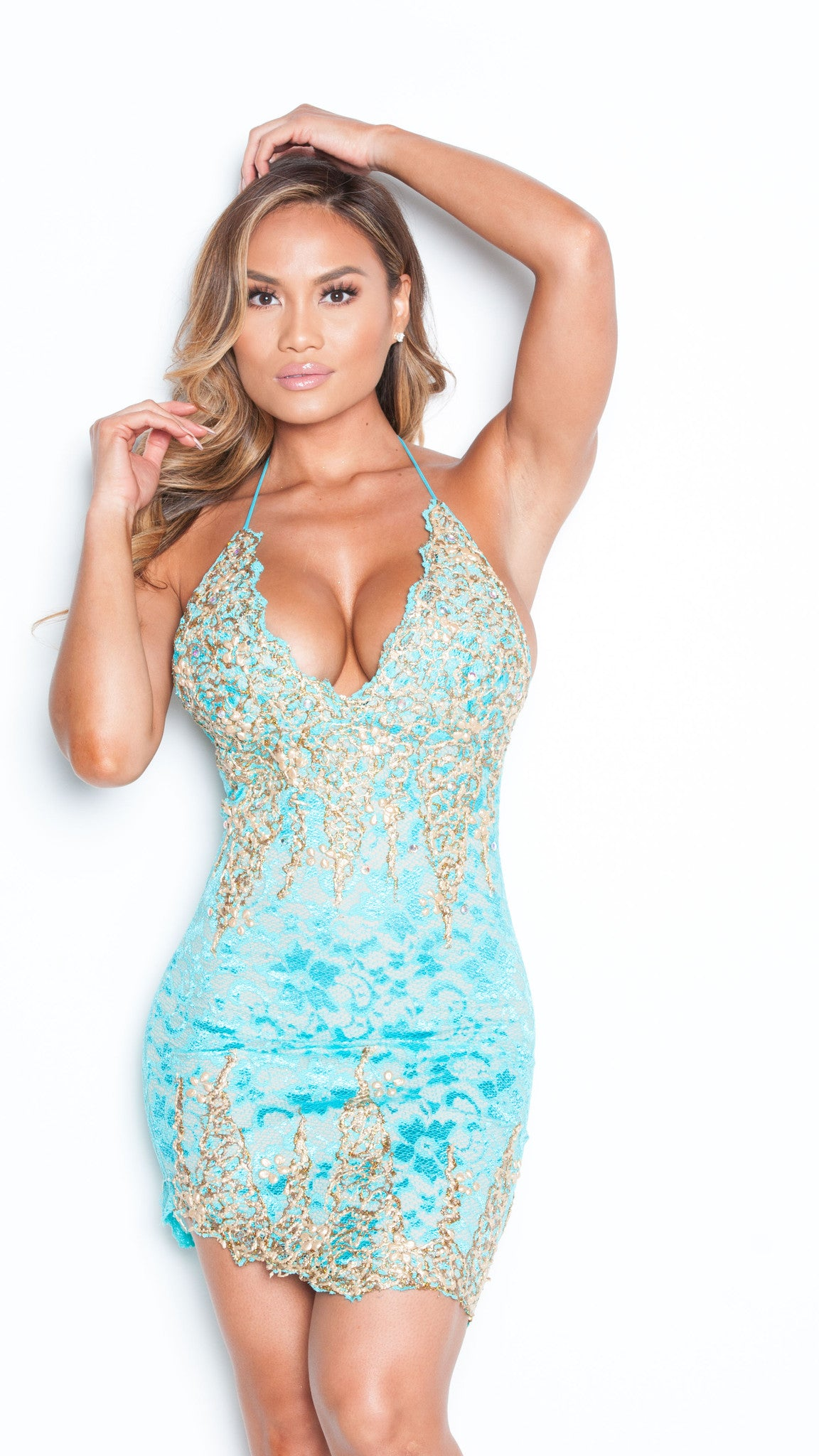 BROOKLYN LACE DRESS IN TURQUOISE WITH GOLD