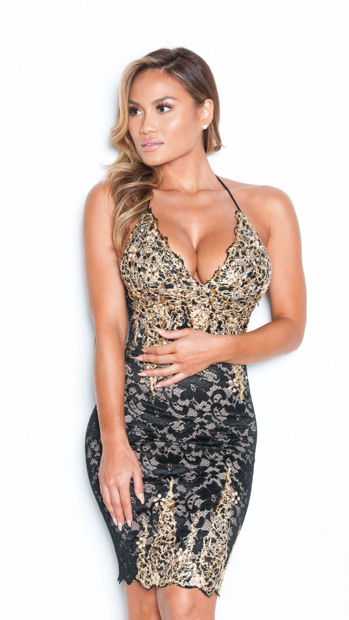 MADION DRESS IN BLACK WITH GOLD