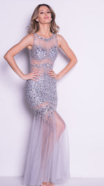 CINA GOWN IN SILVER WITH CRYSTALS