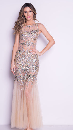 CINA GOWN IN GOLD WITH CRYSTALS