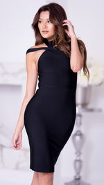 RONAN BANDAGE DRESS IN BLACK