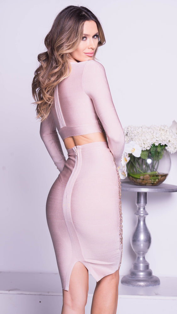 MELINDA BANDAGE DRESS SET IN NUDE WITH GOLD