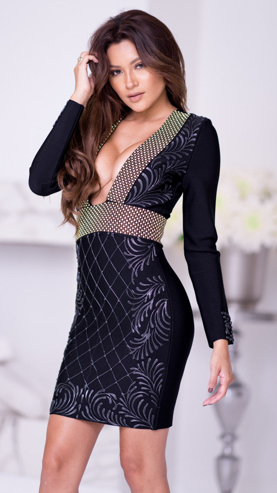 KHLOE BANDAGE DRESS IN BLACK