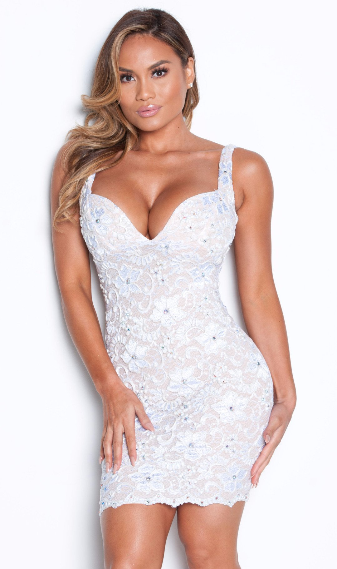 BRIE LACE DRESS IN WHITE