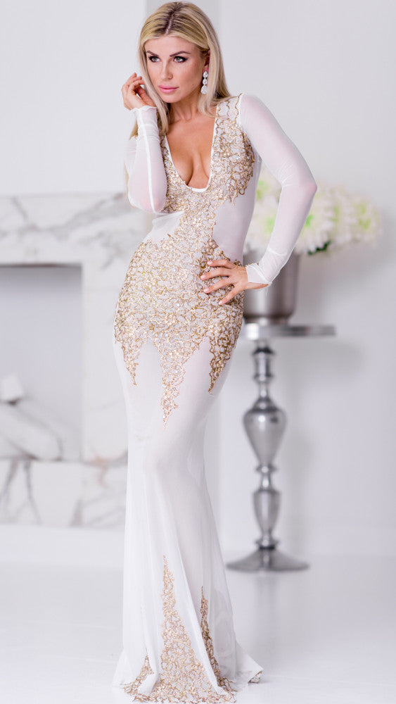 BEYONCE GOWN IN WHITE WITH GOLD – HOLT