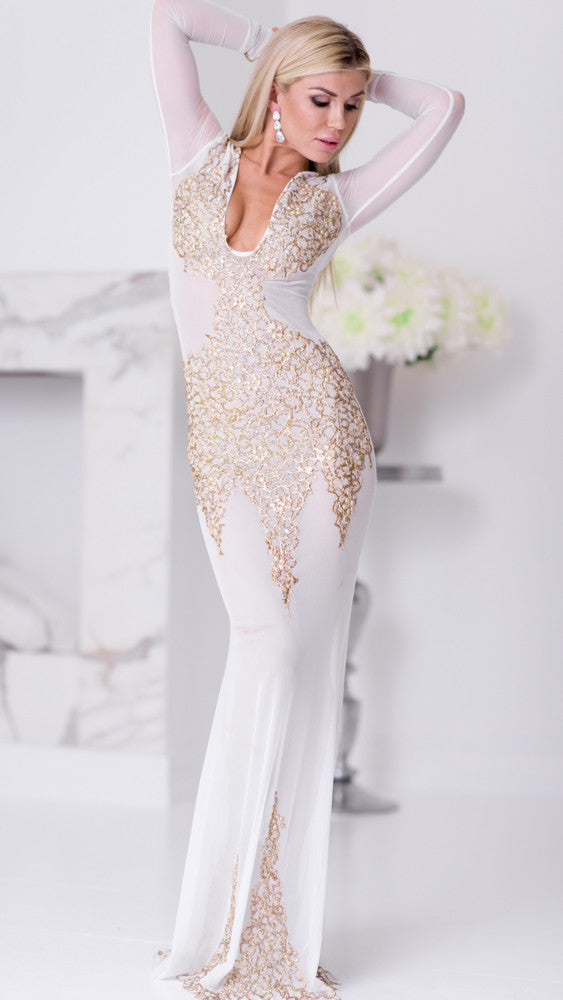 BEYONCE GOWN IN WHITE WITH GOLD