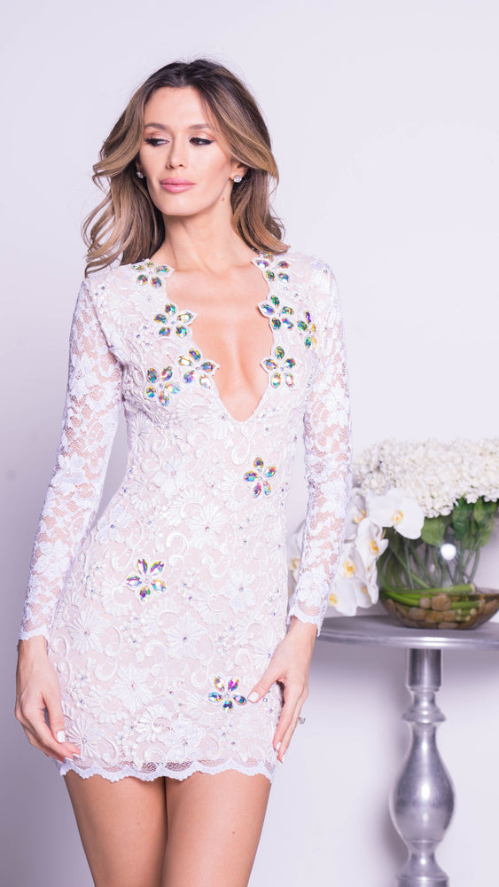 ELY LACE DRESS WITH CRYSTALS