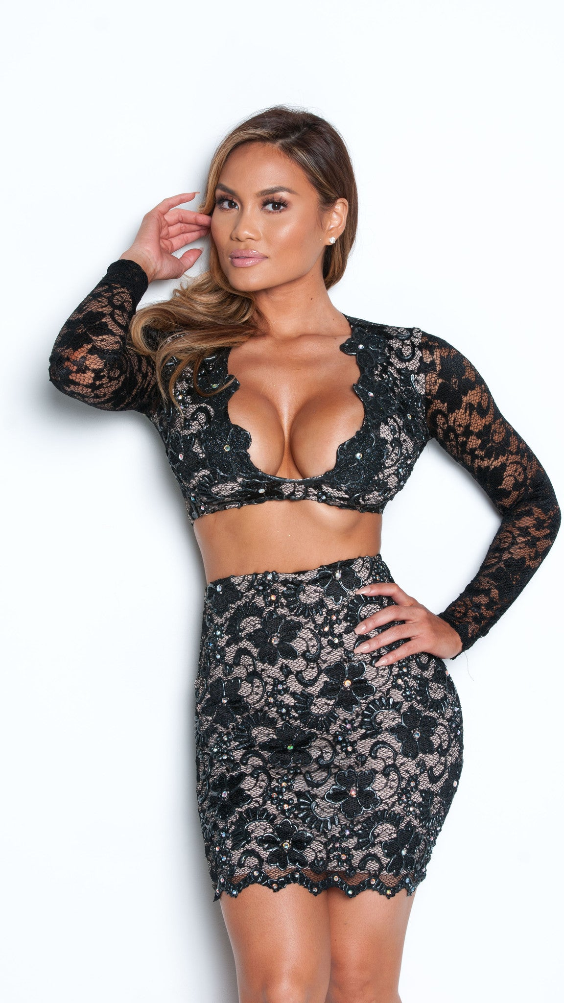 MELI TWO PIECE DRESS LACE SET IN BLACK