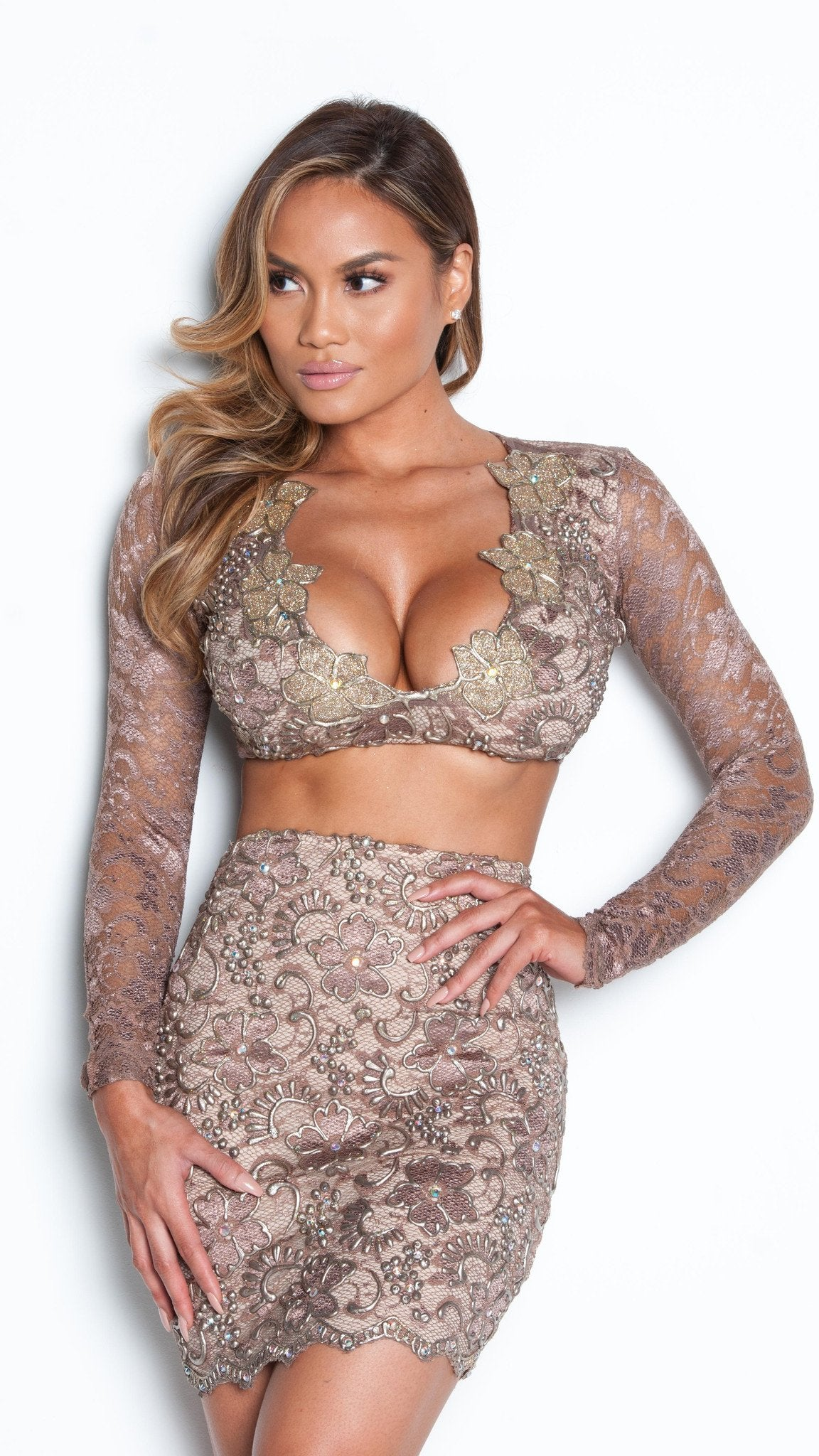 MELI TWO PIECE DRESS LACE SET IN TAUPE