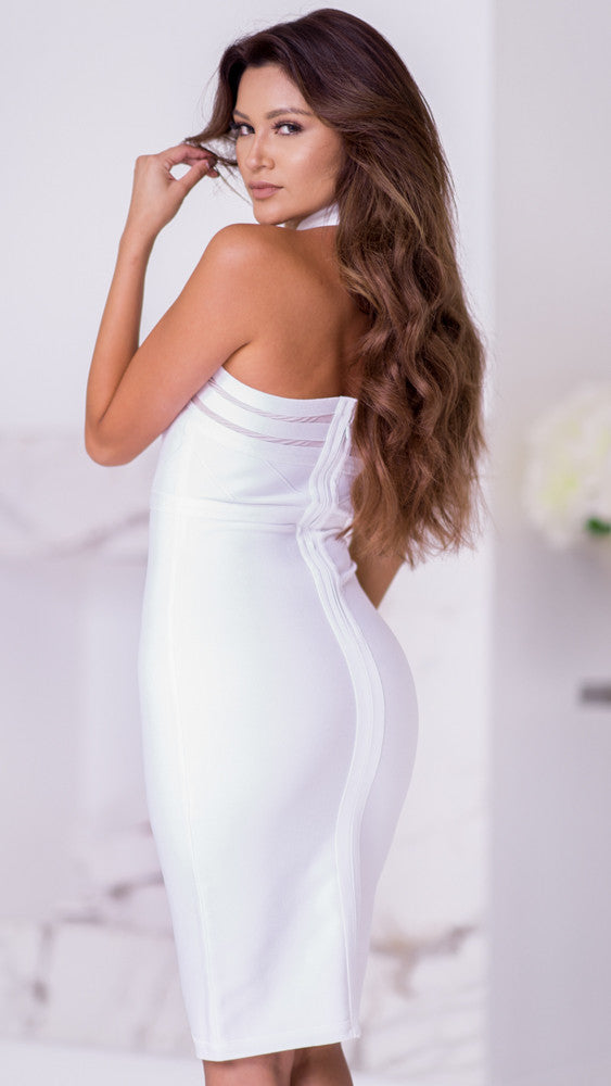 XARA BANDAGE DRESS IN WHITE