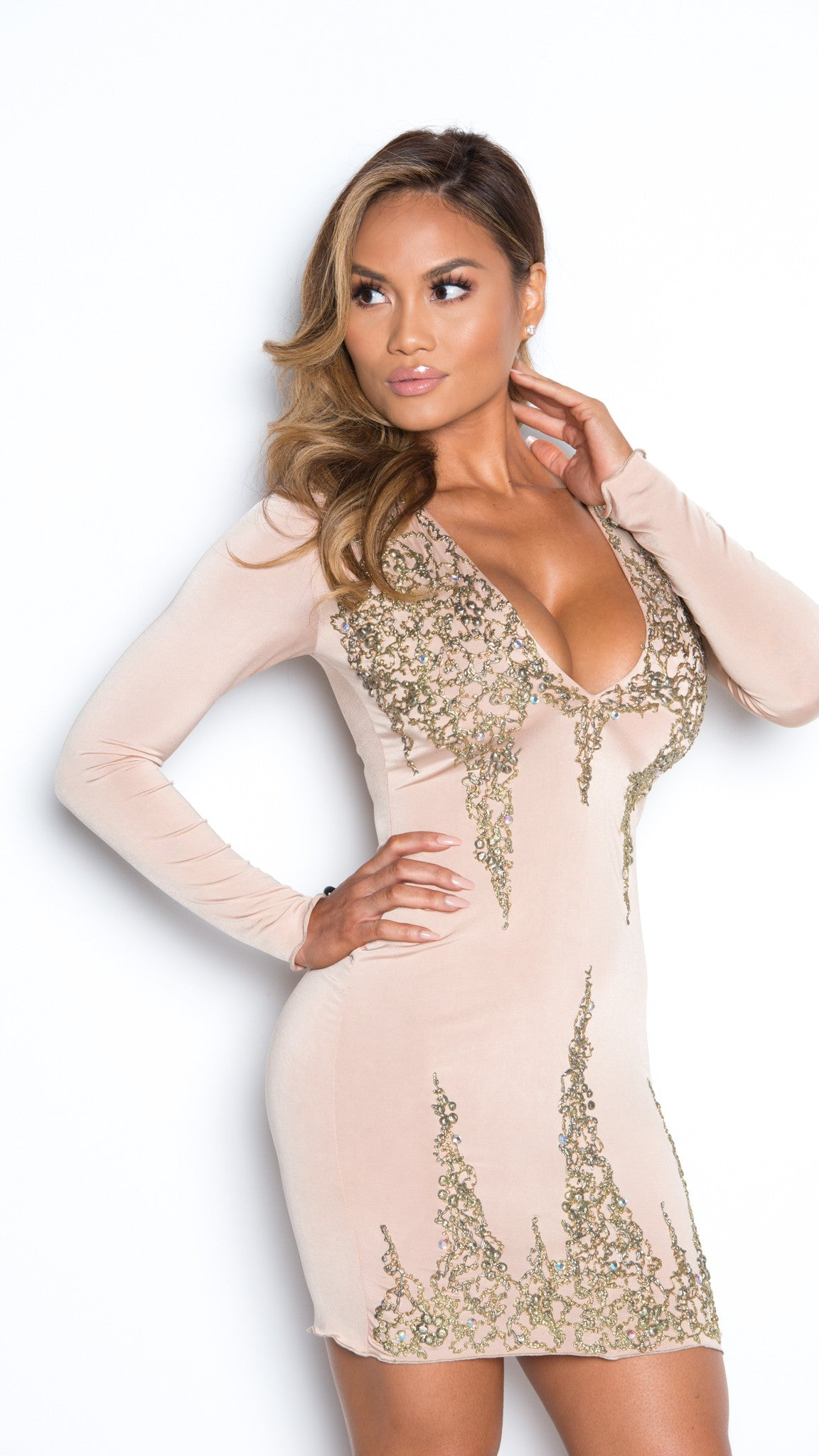 LIMITED DRESS IN NUDE WITH GOLD