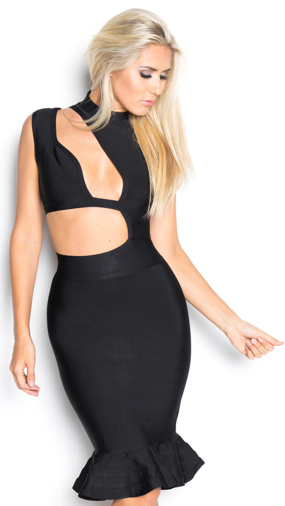 CUT OUT BANDAGE IN BLACK
