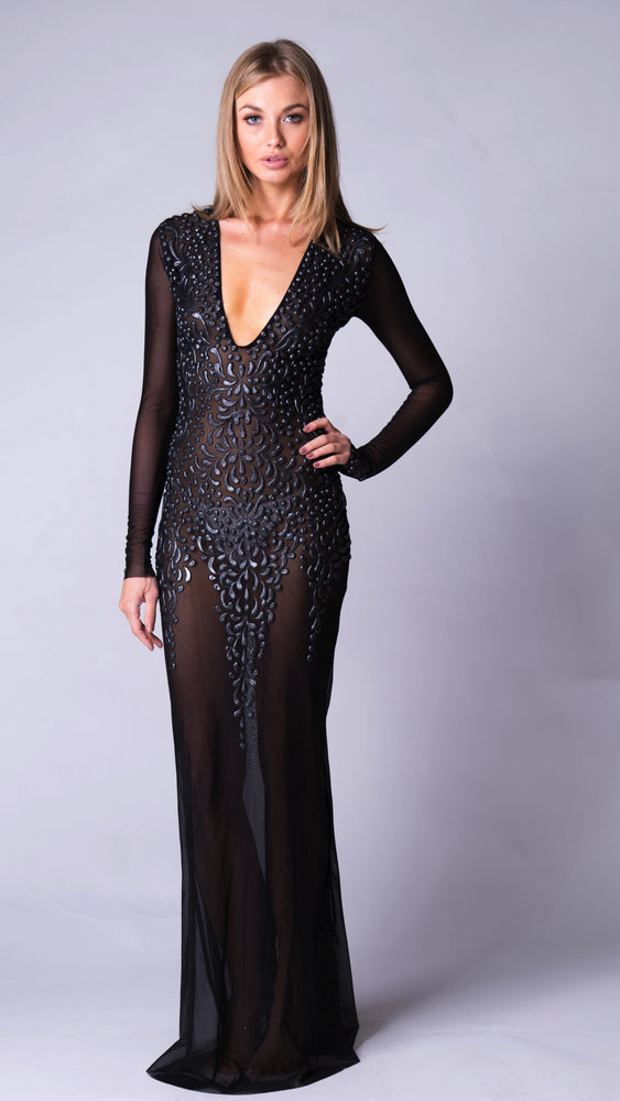 KAHE GOWN IN BLACK