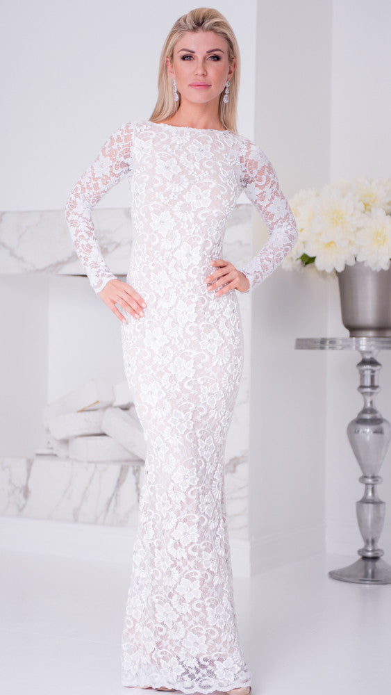 RACHEL LACE GOWN IN WHITE
