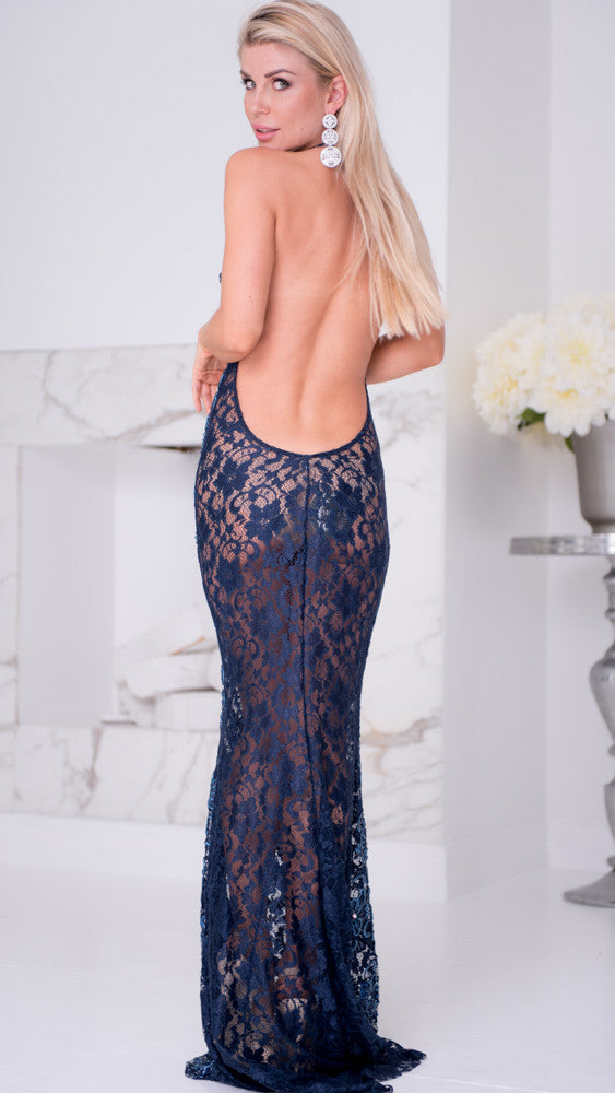 LIV LACE GOWN IN NAVY