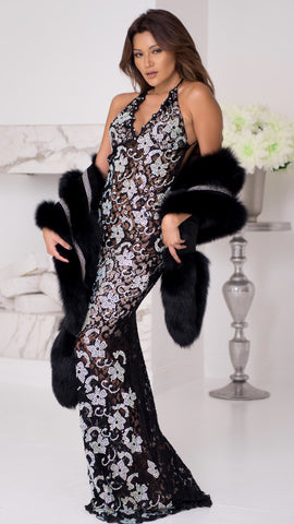 P21 GOWN IN BLACK WITH CRYSTALS