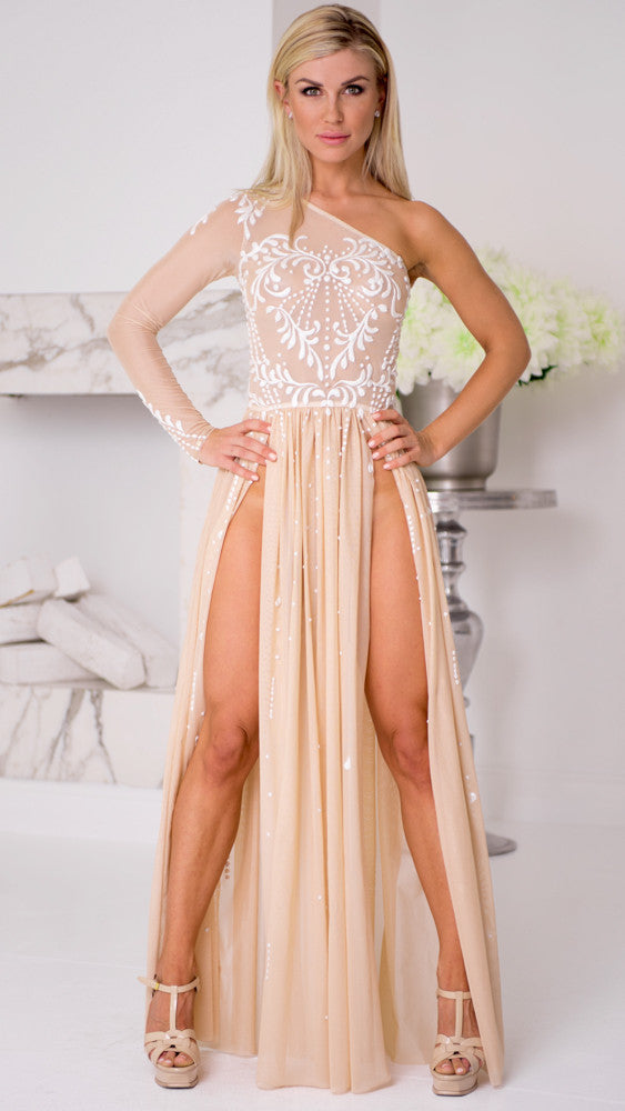 HIGH SLIT GOWN IN NUDE – HOLT