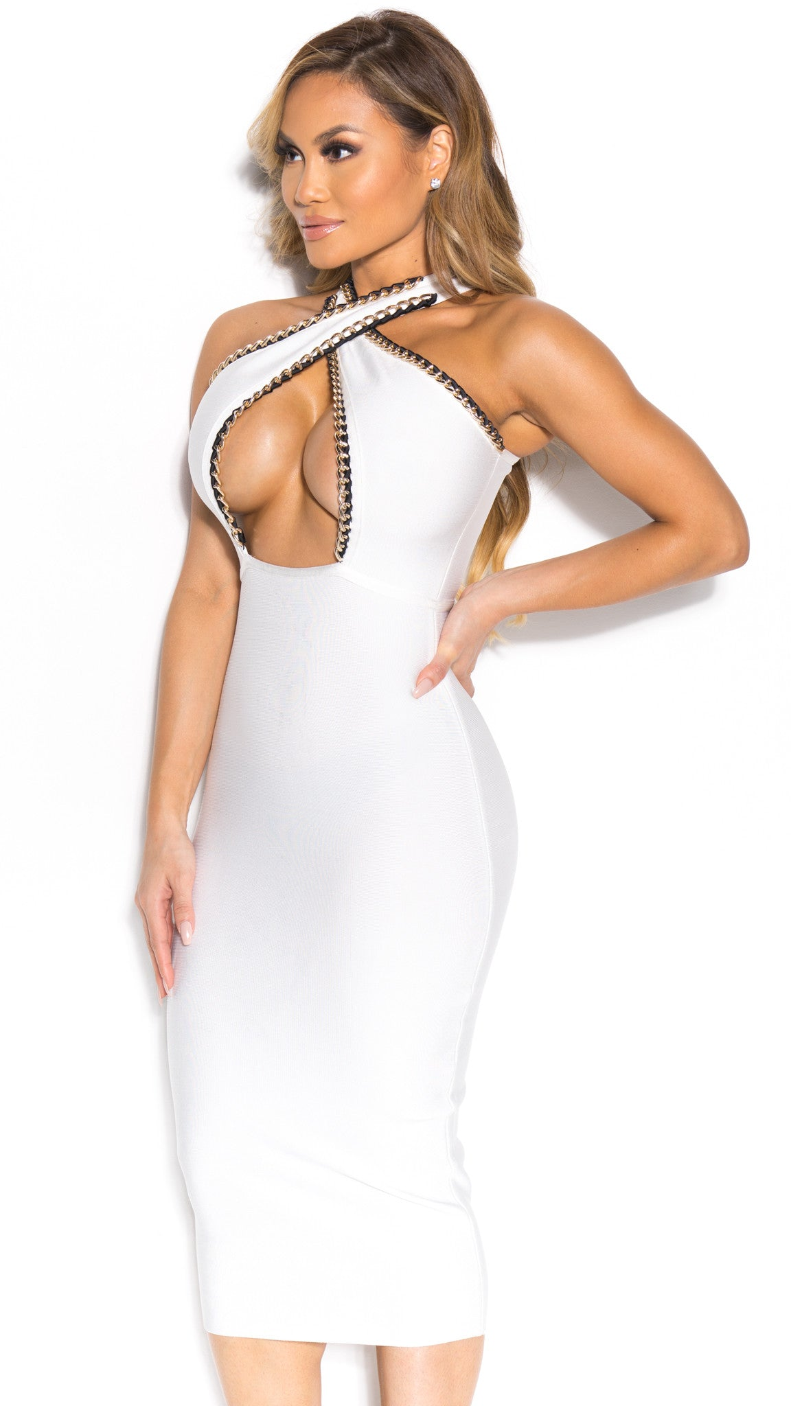 TALIA BANDAGE DRESS IN WHITE WITH GOLD