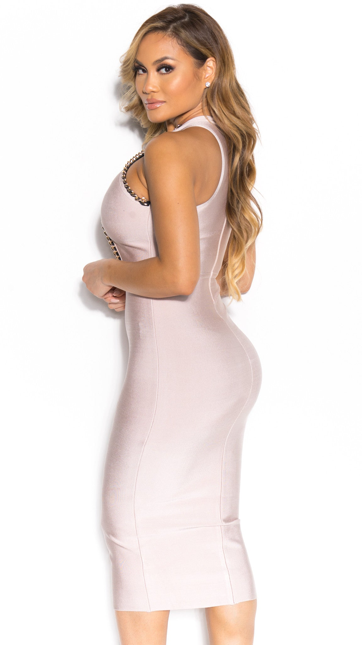 TALIA BANDAGE DRESS IN NUDE WITH GOLD