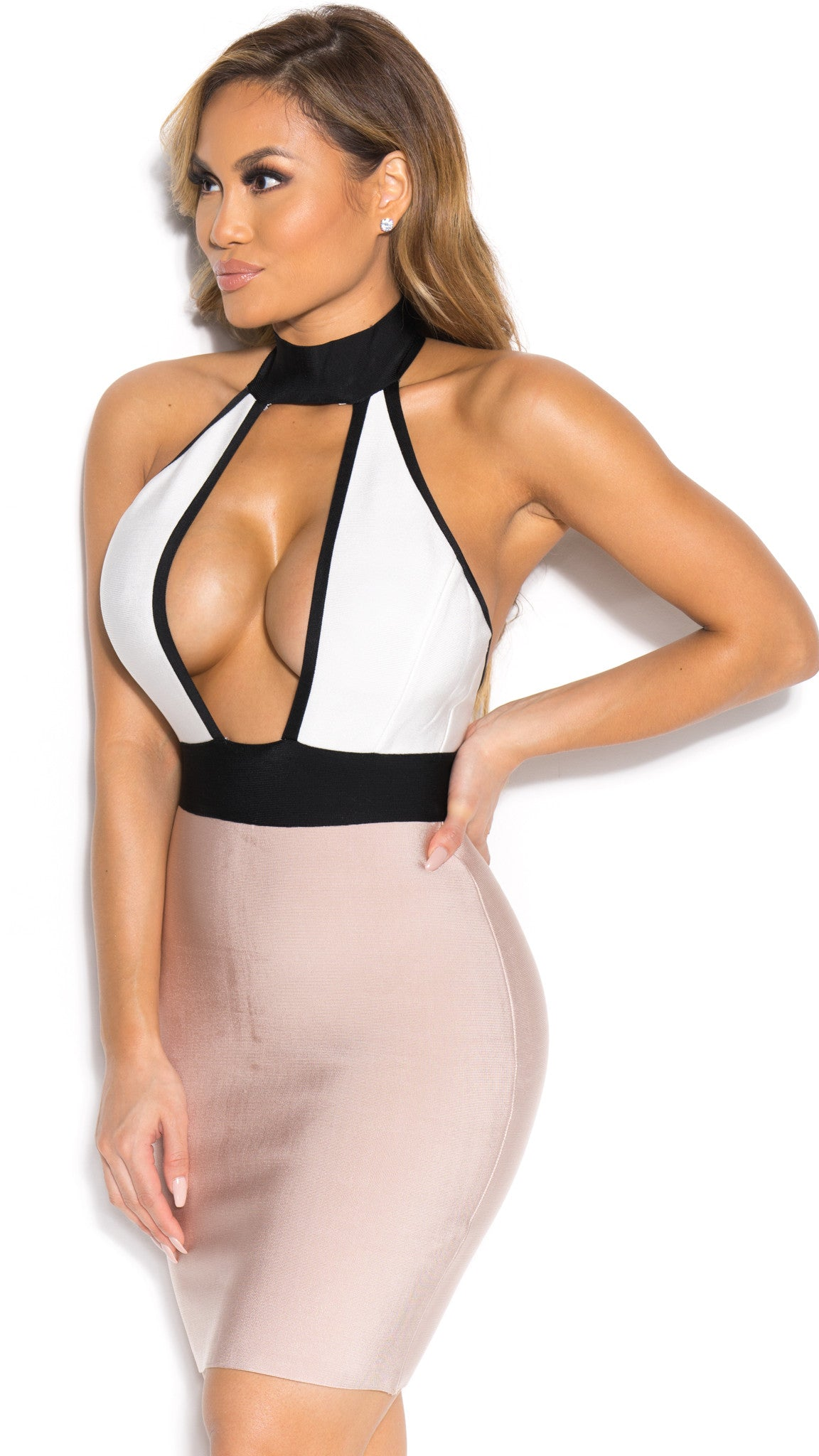 KENDALL BANDAGE DRESS IN NUDE WITH WHITE/BLACK