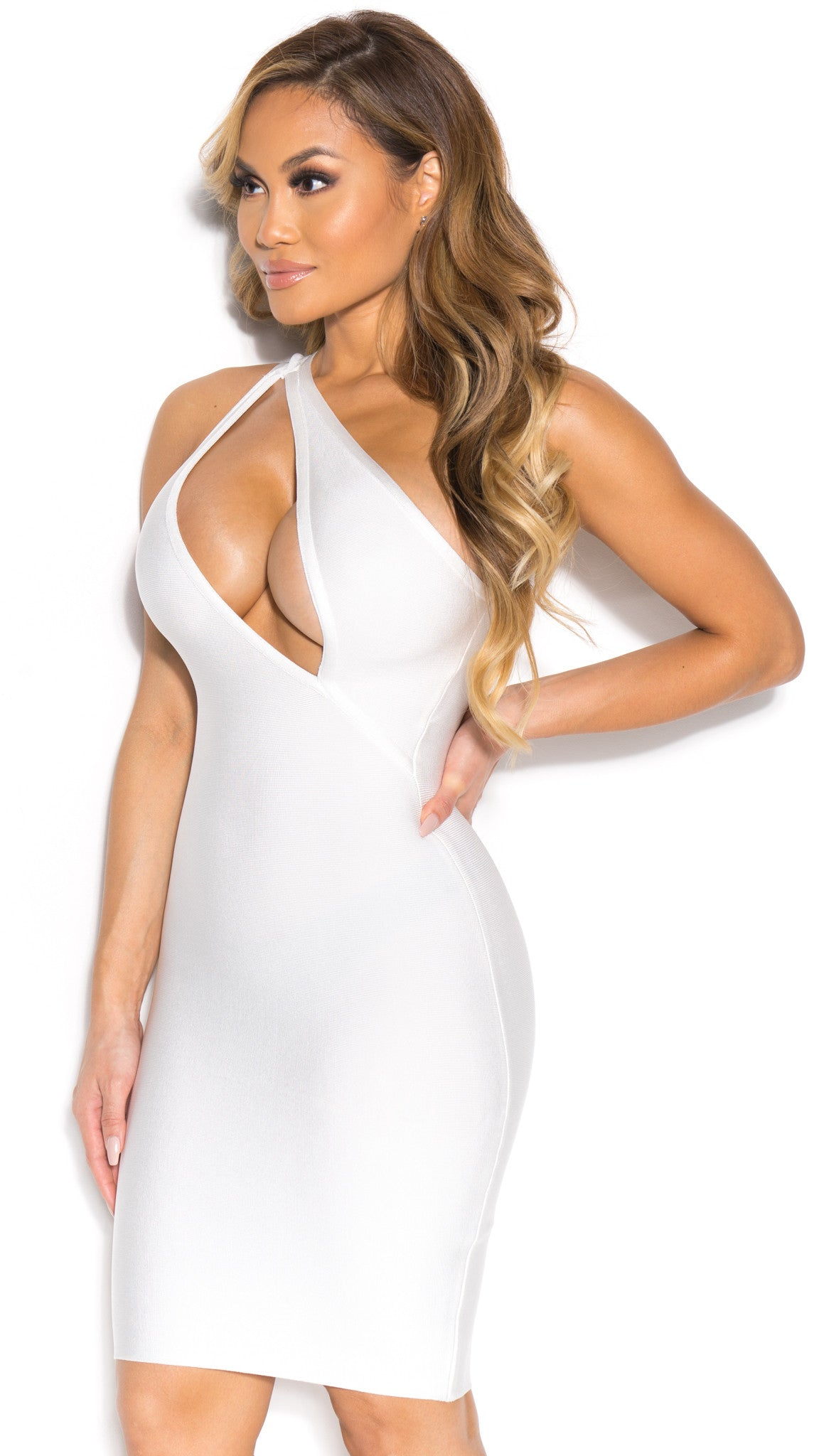 LILY BANDAGE DRESS IN WHITE